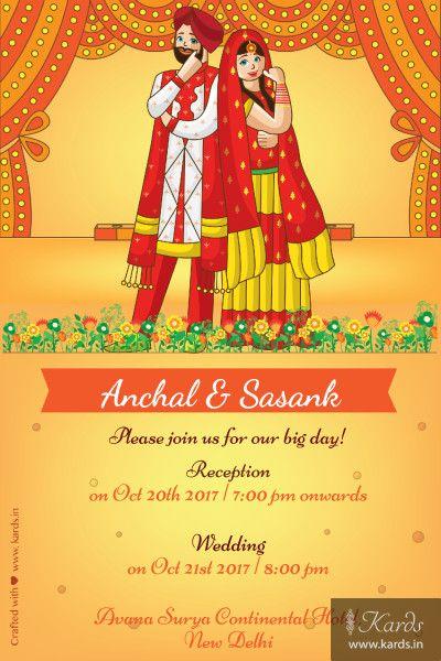 Punjabi Mast Indian Wedding Invitation Card Indian Wedding Invitation Cards Wedding Card Design Indian Invitations