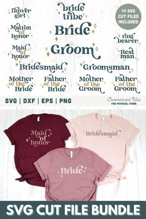 Wedding party SVG cut file bundle - Boho bridal party svg for shirts, Rustic bridal party svg, Bride tribe svg- Commercial Use, Digital File #bohowedding #weddingpartygifts #weddingshirts