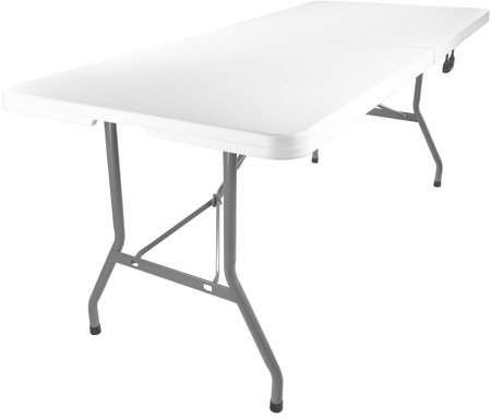 Advantage 6 Ft Bifold Rectangular White Plastic Folding Table Folding Table Table Banquet Tables