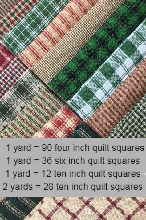 Handy reference chart for how many 4 inch, 6 inch, and 10 inch quilt squares you. Handy reference chart for how many 4 inch, 6 inch, and 10 inch quilt squares you can get out of a yard of fabric. Homespun fabric is great for rag quilting! Quilting For Beginners, Quilting Tips, Quilting Tutorials, Quilting Designs, Patchwork Quilting, Quilting Fabric, Quilting Projects, Sewing Projects, Fabric Sofa
