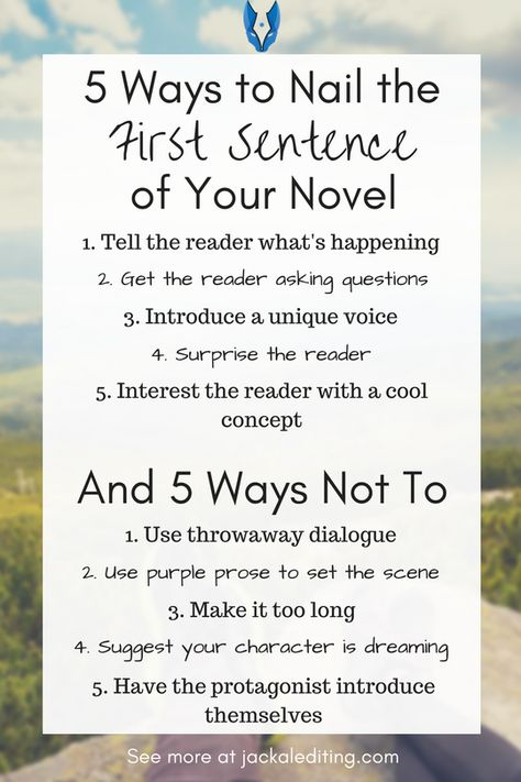 5 Ways to Nail the First Sentence of Your Novel