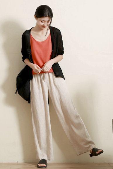 Beige cotton loose pants