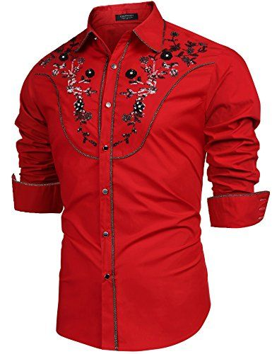 COOFANDY Men/'s Embroidered Rose Design Western Shirt Long Sleeve Button Down Shi