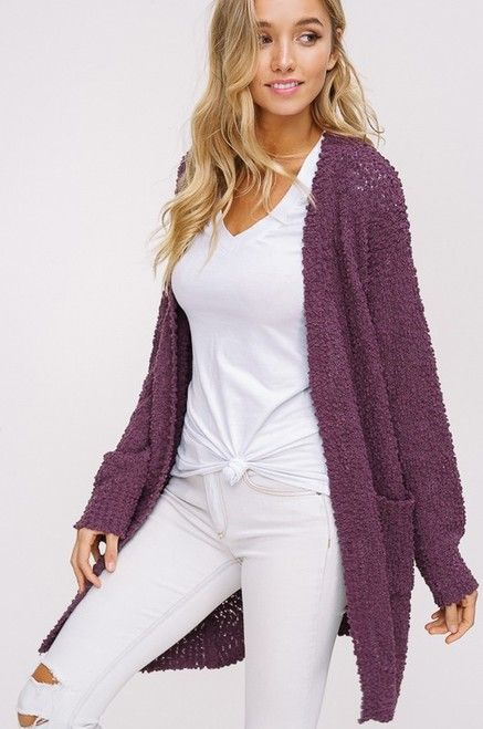 be4c6bc8051 Aidyn Knit Popcorn Cardigan - Eggplant in 2019 | Boutique Clothing ...