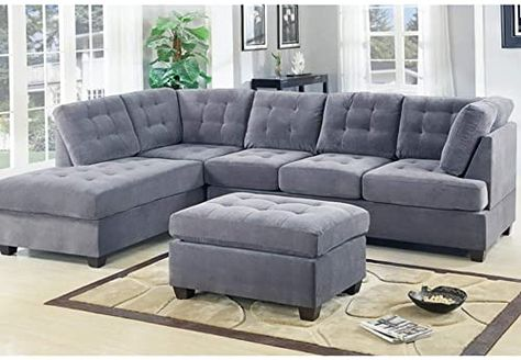 New Casa Andreamilano 2 Piece Modern Grey Soft Tufted Micro Suede