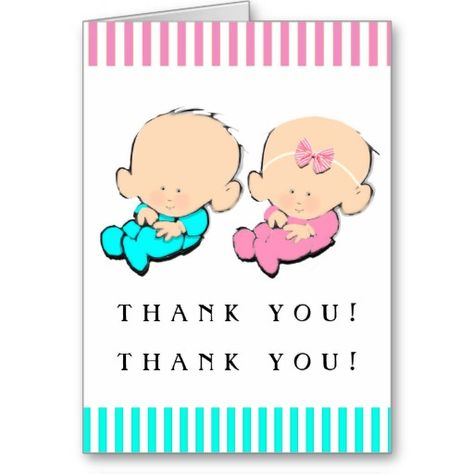 Twins Baby Shower Thank You Cards Baby Boy Thank You Cards Thank