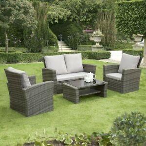 Details About Gsd Rattan Garden Furniture 4 Piece Patio Set Table