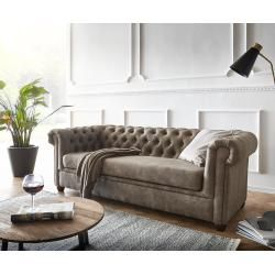 Delife Sofa Chesterfield 3 Sitzer 200x88 Cm Vintage Taupe Couch Chesterfields Delifedelife In 2020 Chesterfield Mobel 3 Sitzer Sofa Und Chesterfield Ecksofa