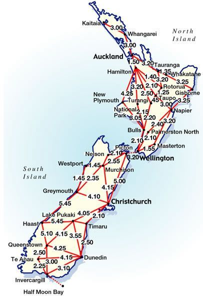New Zealand Highway Map.Driving Distances Times In New Zealand Nz Campervan Nz South