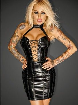 Black Vinyl Faux Leather Mini Dress W Lace Up Front Wet