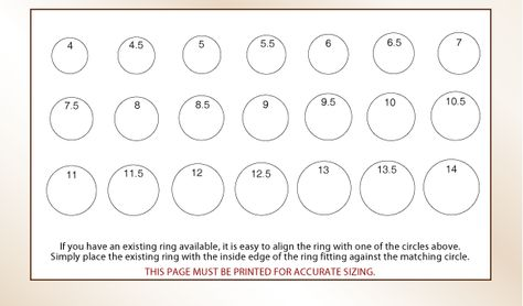 Printable Ring Sizer Click Here To And Print A Pdf File Of This Chart