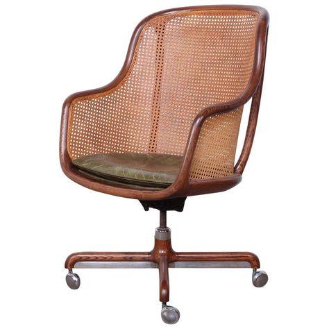 Ward Bennett Ash Caned Swivel Office Chair Desk Chair Modern