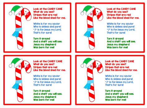 Candy Cane poem printable for kids.  Colored text on pg. 1 and black text on pg. 2.