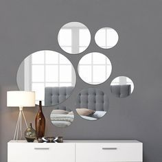 Round Wall Mirror Mounted Assorted Sizes Silver In 2020 Dark Walls Living Room Wall Mirrors Set Round Wall Mirror