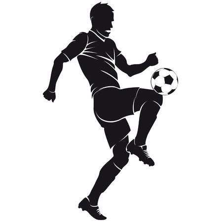 Vector Football Soccer Player Silhouette With Ball Isolated Soccer Art Soccer Players Football Soccer