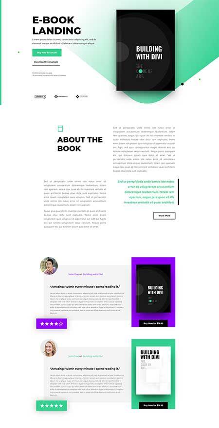 Divi Book Reviews Layout Tutorial Divi Theme Layouts Ebook Design Landing Page Landing Page Design
