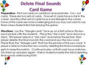 Deleting Final Sound Phonemic Awareness Card Game Card Games Phonemic Awareness Small Group Reading Instruction