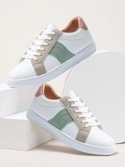 Lace Up Front Wide Fit Chunky Sneakers Shein Di 2021 Sepatu Wanita Sepatu Gaya Model Pakaian