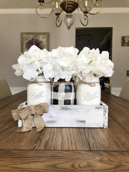 Black and White Gingham - Buffalo Plaid Mason Jars