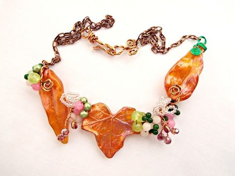 Autumn Tones Statement Necklace with Gemstone Berries and Melt Art Leaves £22.00