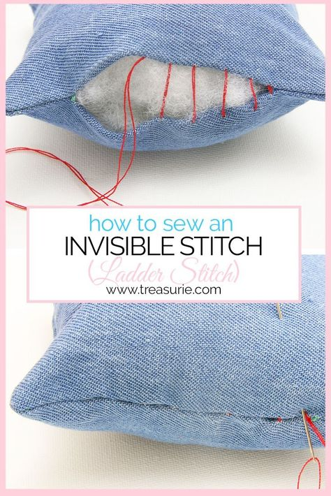 INVISIBLE STITCH - Ladder Stitch/Slip Stitch Tutorial The ladder stitch (slip stitch) is an important technique to create invisible stitch closures. Learn how to do a ladder stitch step by step for beginners. Easy Sewing Projects, Sewing Projects For Beginners, Sewing Hacks, Sewing Tutorials, Sewing Crafts, Sewing Tips, Sewing Stitches, Embroidery Stitches, Sewing Patterns