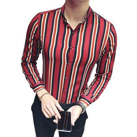 Domple Mens Nightclub Lapel Long Sleeve Floral Print Hair Stylist Work Button Down Shirts