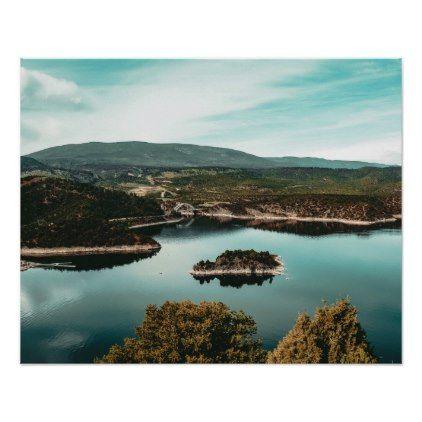Little Mountain Island Teal Rustic Lake Poster Zazzle Com Landscape Prints Landscape Photography Mountain Pictures