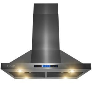 Akdy 30 In 343 Cfm Convertible Kitchen Island Mount Range Hood In Black Painted Stainless Steel With Touch Control Rh0080 The Home Depot Range Hood Kitchen Range Hood Black Stainless Steel