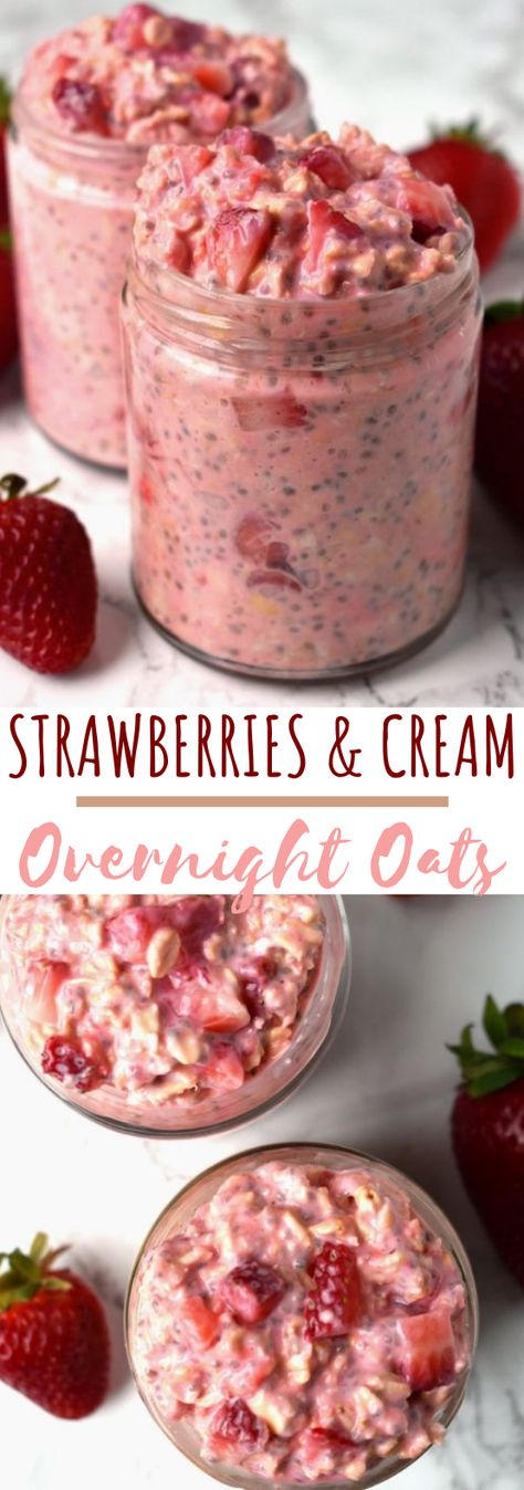 Strawberries and Cream Overnight Oats #healthy #breakfast #Strawberries #and #Cream #Overnight #Oats ##healthy ##breakfast