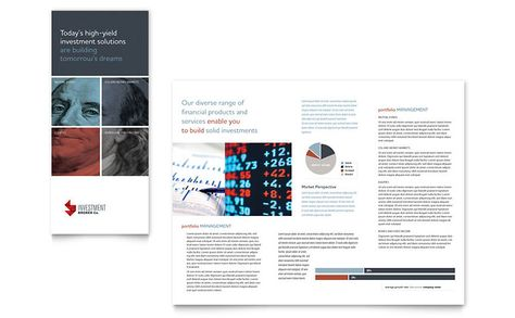 Investment Bank Tri Fold Brochure Template Design Tri-Fold - microsoft word tri fold brochure