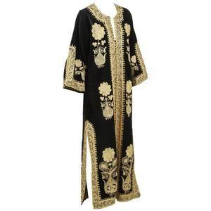 Vintage black and gold kaftan style tunic dress