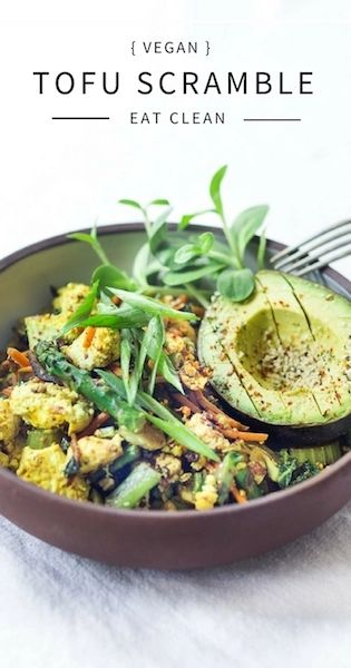 Vegan Tofu Scramble - loaded up with healthy seasonal veggies that you already have on hand. This vegan breakfast can be made in 15 minutes flat! Healthy, Fast, delicious!#vegan #veganbreakfast #tofuscramble #plantbased #eatclean #cleaneating #cleaneats