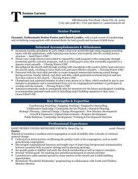 Senior Pastor Professional Resume Sample | Matt's survival stuff ...