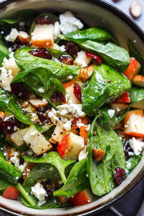 Apple Almond Feta Spinach Salad - Crunchy, sweet and easy to make, this healthy spinach salad is full of fresh flavors. : Apple Almond Feta Spinach Salad - Crunchy, sweet and easy to make, this healthy spinach salad is full of fresh flavors. Spinach Salad Recipes, Salad Recipes For Dinner, Healthy Salad Recipes, Vegetarian Recipes, Spinach Salad Dressings, Healthy Salads For Dinner, Meat Recipes, Spinach Apple Salad, Easy Salads To Make