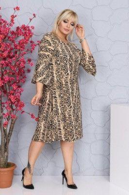 Angelino Fashion Buyuk Beden Kollari Duz Leopar Desenli Elbise 1 Elbise Elbise Modelleri Moda Stilleri