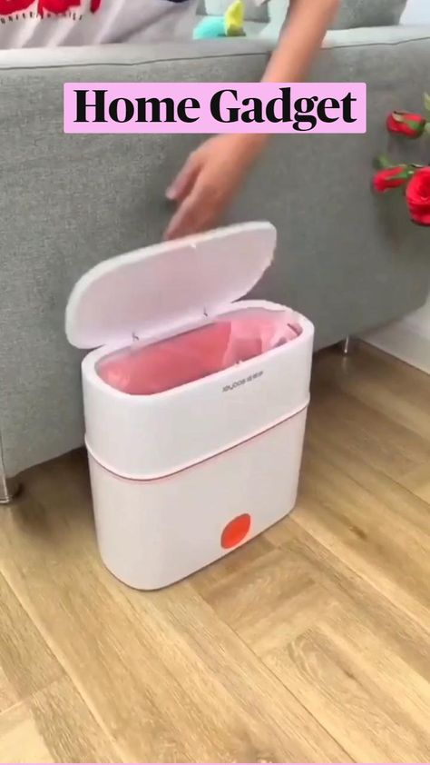 TRASHCAN Plastic Slim Garbage Container Bin with Press Top Lid