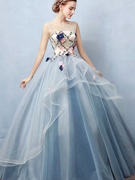 Blue Ball Gown Floor Length Sheer Neck Sleeveless Lace Up Floral Prom Dress,Party Dress P406 #blue #ballgown #floorlength #sleeveless #lace #partydress #promdress