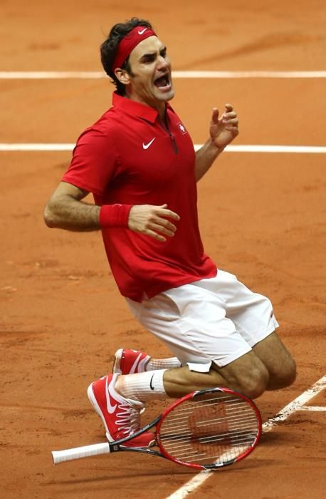 La joie de Roger Federer.