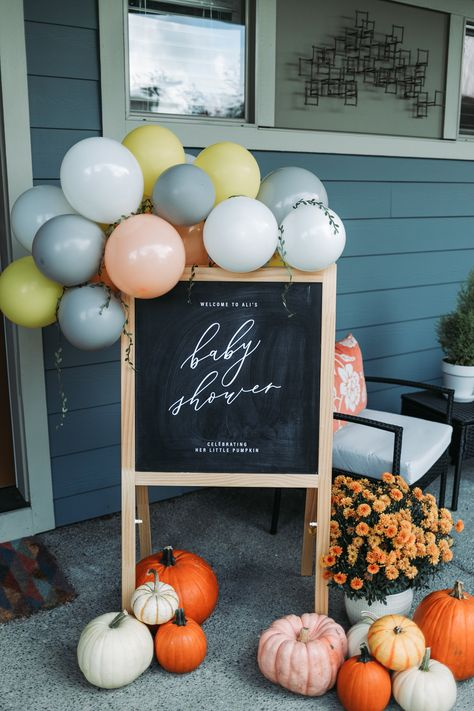 Little Pumpkin — David and Leanna Baby Shower Balloons, Baby Shower Cakes, Baby Shower Themes, Baby Boy Shower, Baby Shower Decorations, Shower Ideas, Baby Shower Fall Theme, October Baby Showers, 2nd Baby Showers
