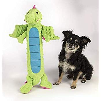 Godog Skinny Dragons With Chew Guard Durable Plush Dog Toys With