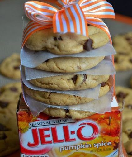 Pumpkin Spice, Chocolate Chip Pudding Cookies