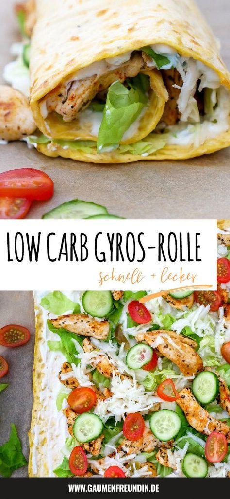 Schnelle und einfache Low Carb Gyros-Rolle mit Tzatziki, Krautsalat, Tomaten, Hähnchen und Gurken für alle Döner-Fans - perfekt für das gesunde Low Carb Essen - Gaumenfreundin Foodblog #gyros #döner #dönerrolle #lowcarb