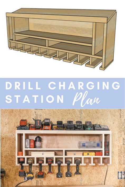 DIY Drill Charging Station 2019 Check out this simple plan to organize all of your cordless drills and their chargers. Who isnt looking to get more organized in the shop? The post DIY Drill Charging Station 2019 appeared first on Woodworking ideas. Woodworking For Kids, Easy Woodworking Projects, Popular Woodworking, Diy Wood Projects, Woodworking Shop, Woodworking Plans, Woodworking Classes, Woodworking Machinery, Woodworking Magazine