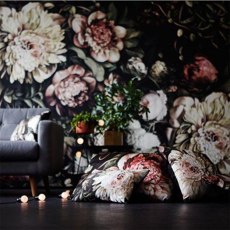 Dark Floral II Black Saturated XL on Silk Satin Cushion x 30 cm) - by Ellie Cashman Design