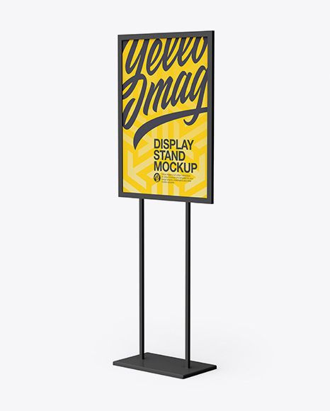 A1 Display Stand Mockup Half Side View In Outdoor Advertising Mockups On Yellow Images Object Mockups Mockup Free Psd Free Psd Mockups Templates Mockup Psd