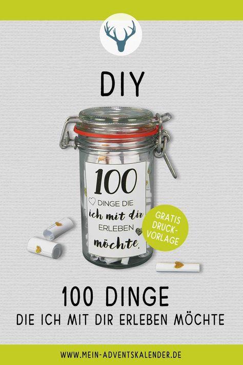 DIY 100 Dinge, die ich mit dir erleben möchte – Holt euch die Bastelanleitung  sowie die kostenlosen Printables für diese süßen Liebesbotschaften.  #diy #basteln #ideen #liebe #liebesgeschenke #geschenkideen  #meinadventskalender