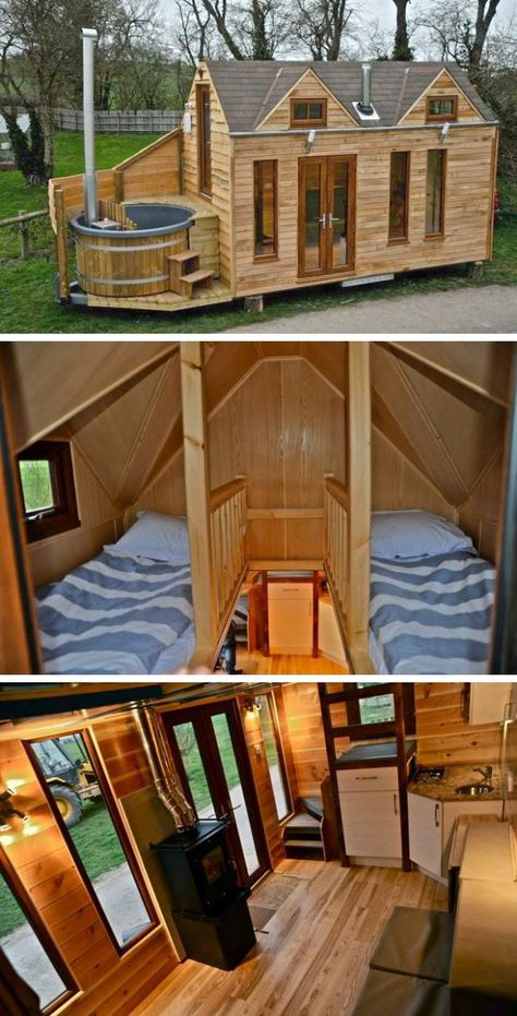 This Cabin Proves Tiny Homes Can Be Luxurious Thinking of downsizing? The latest tiny house we've spotted has an unusual finishing touch that brings an extra bit of comfort to the minimalist lifestyle — a petite, personal hot tub. Tiny Cabins, Tiny House Cabin, Tiny House Living, Tiny House Plans, Tiny House Design, Tiny House On Wheels, Tiny House Luxury, Hot House, Cabin Homes