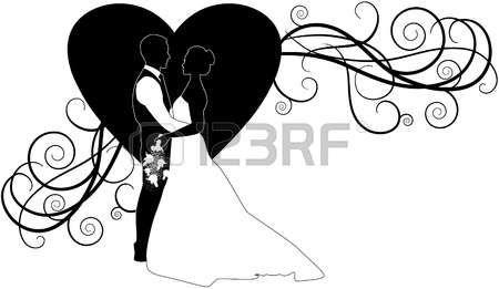 fleur dessin noir et blanc silhouette de couple de mariage Illustration