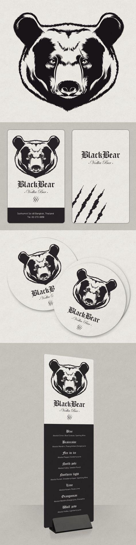 Black Bear - Bar à Vodka  / Création d'un logo et de supports de communication / Graphiste freelance, illustrateur, webdesigner