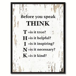 """Before You Speak Think Saying Canvas Print Picture Frame Home Decor Wall Art Gifts (7"""" x 9""""), Black"""